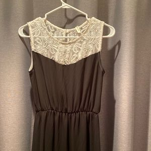 Black dress, vintage white lace detail. Size M.